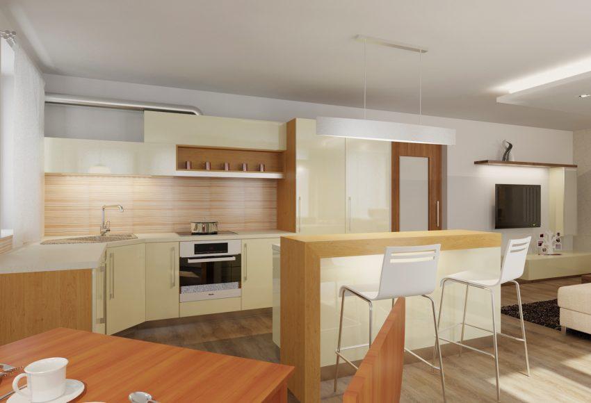 Obývací pokoj s kuchyní – rodinný dům Bratčice
